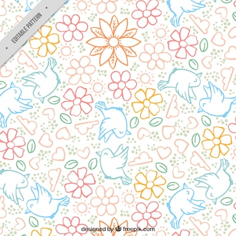 Great spring pattern with flowers and doves