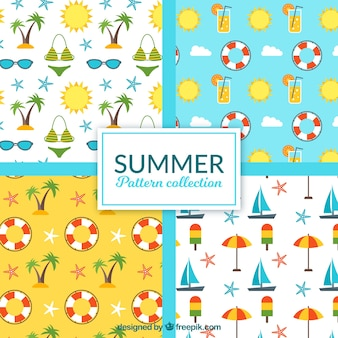 Great summer patterns with flat objects