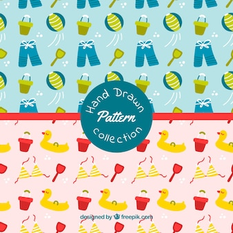 Great summer patterns with hand-drawn objects