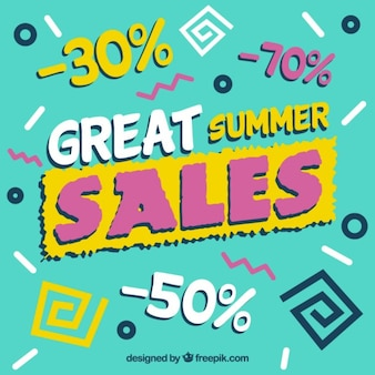 Great summer sales background in memphis style