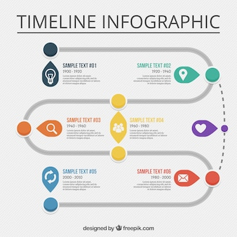 Great timeline infographic with white icons