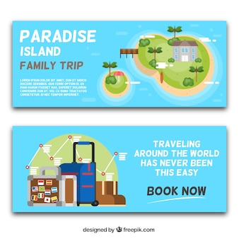 Great travel banners in flat design