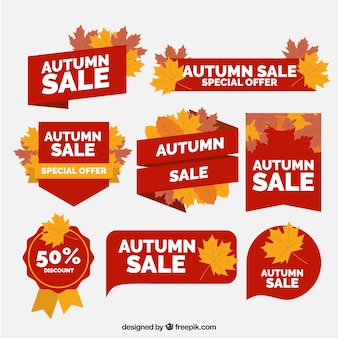 Great variety of flat autumn labels
