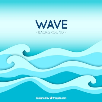 Great wave background in blue tones