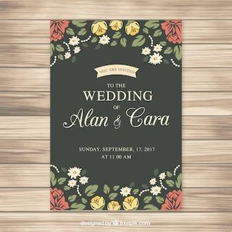 色鮮やかな花の偉大な結婚式招待