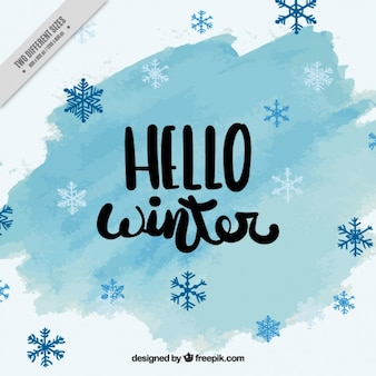 Great winter background with snowflakes in blue tones