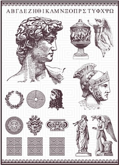 Greek items antique drawn vector