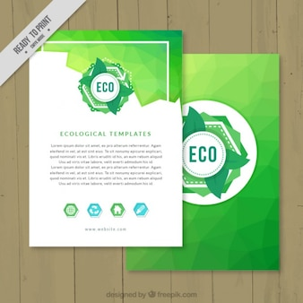 Green abstract ecological flyer