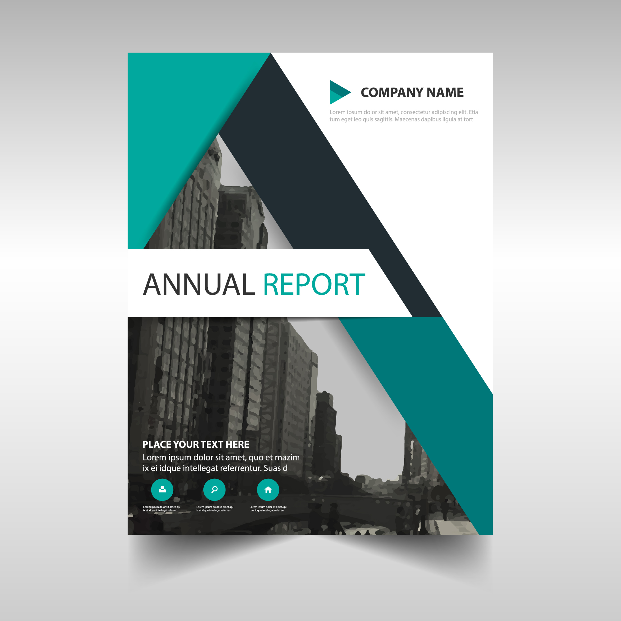 Green abstract modern annual report template