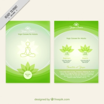 Green abstract yoga center brochure