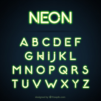 Green alphabet made with neon lights