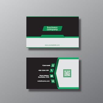 Green and black business card design