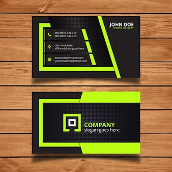 Green and black corporate business card design