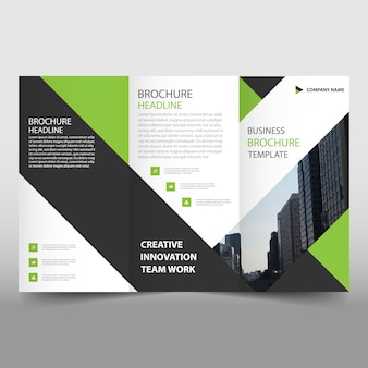 Green and black trifold leaflet template