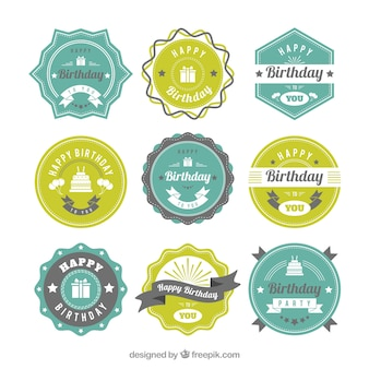Green and blue birthday badges