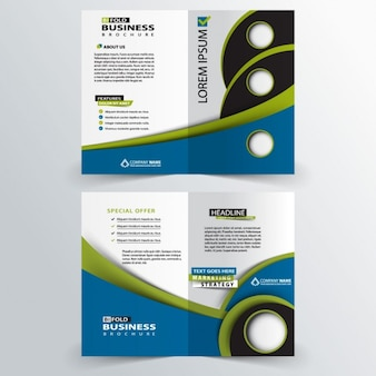 Green and blue business brochure