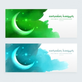 Green and blue moons banners