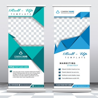 Green and blue origami banner templates