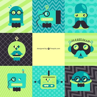 Green and blue retro robots collection