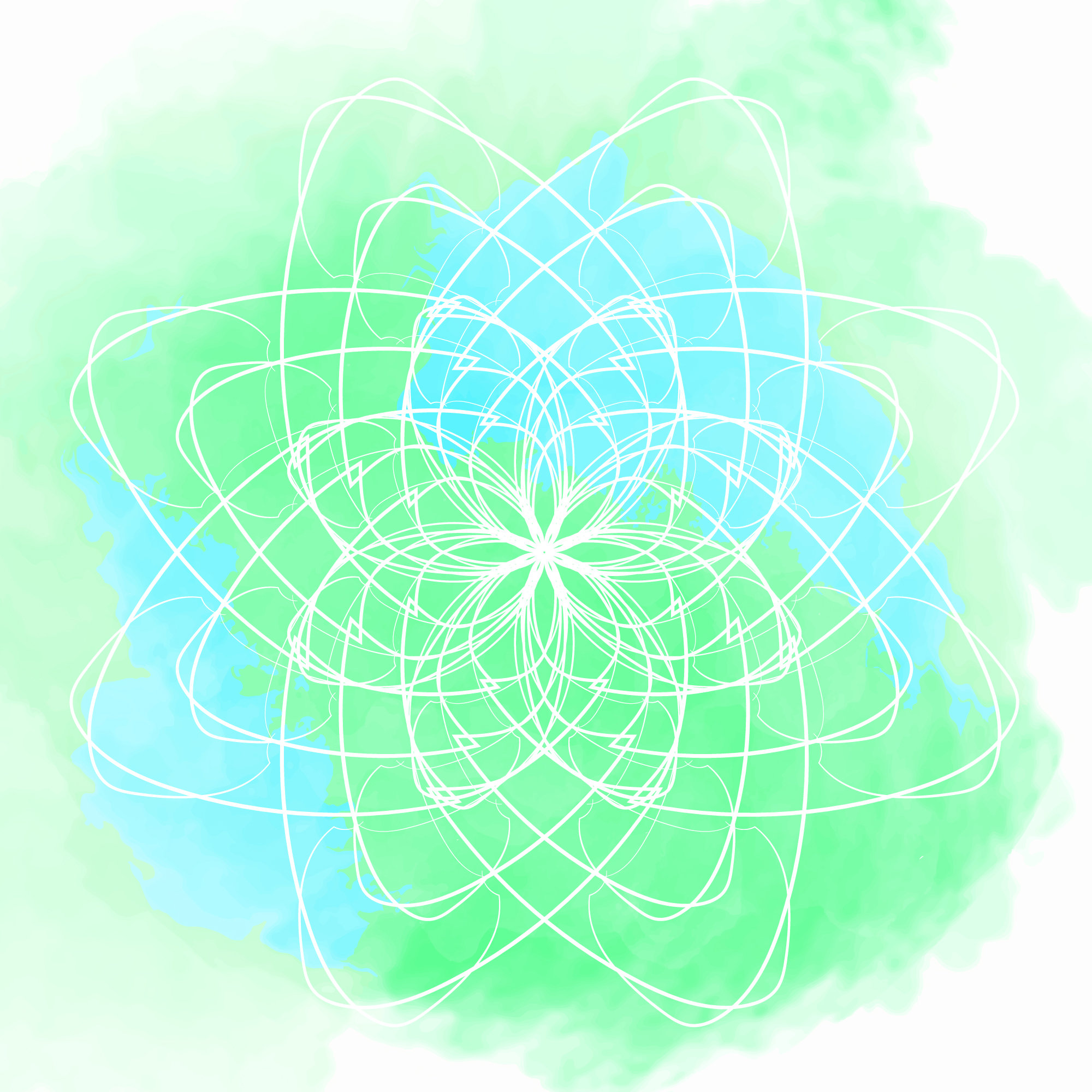 Green and blue watercolor background with flower mandala