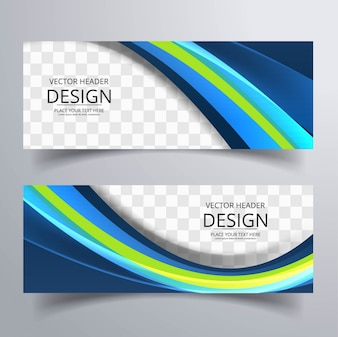 Green and blue wavy banners