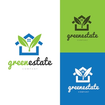 グリーンとエコハウスロゴ、不動産ロゴ、ツリーロゴ。ホームケアロゴテンプレート。