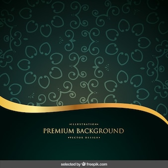 Green and gold ornamental background