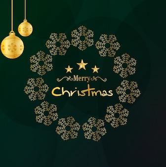 グリーンとゴールデンクリスマスの挨拶の背景
