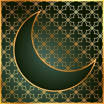 Green and golden moon background