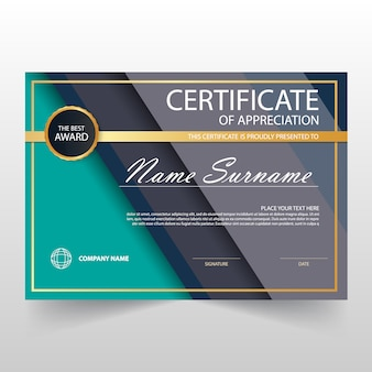Green and grey horizontal certificate of appreciation