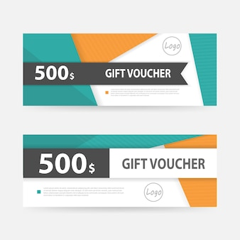 Green and orange gift voucher template