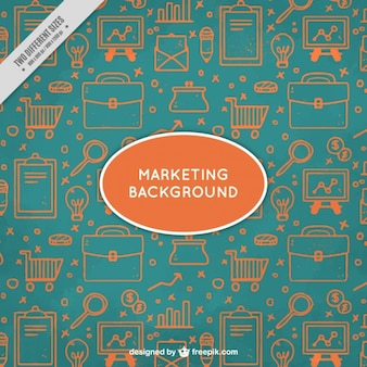 Green and orange marketing background with hand-drawn elements