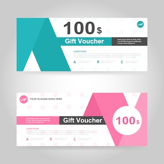 Green and pink gift voucher template