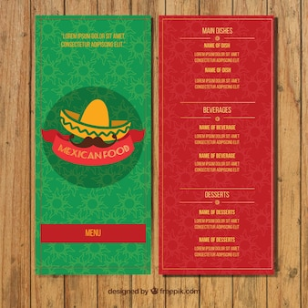 Green and red mexican restaurant menu
