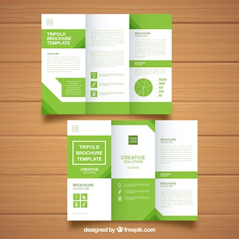 Green and white business brochure