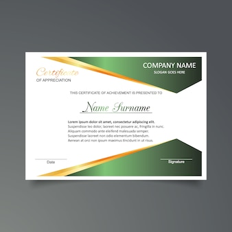 Green and white certificate of appreciation template