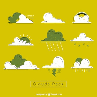 Green and white clouds pack