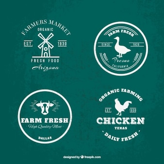 Green and white farm logo collection