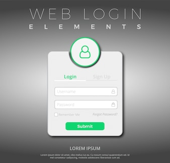Green and white web login template