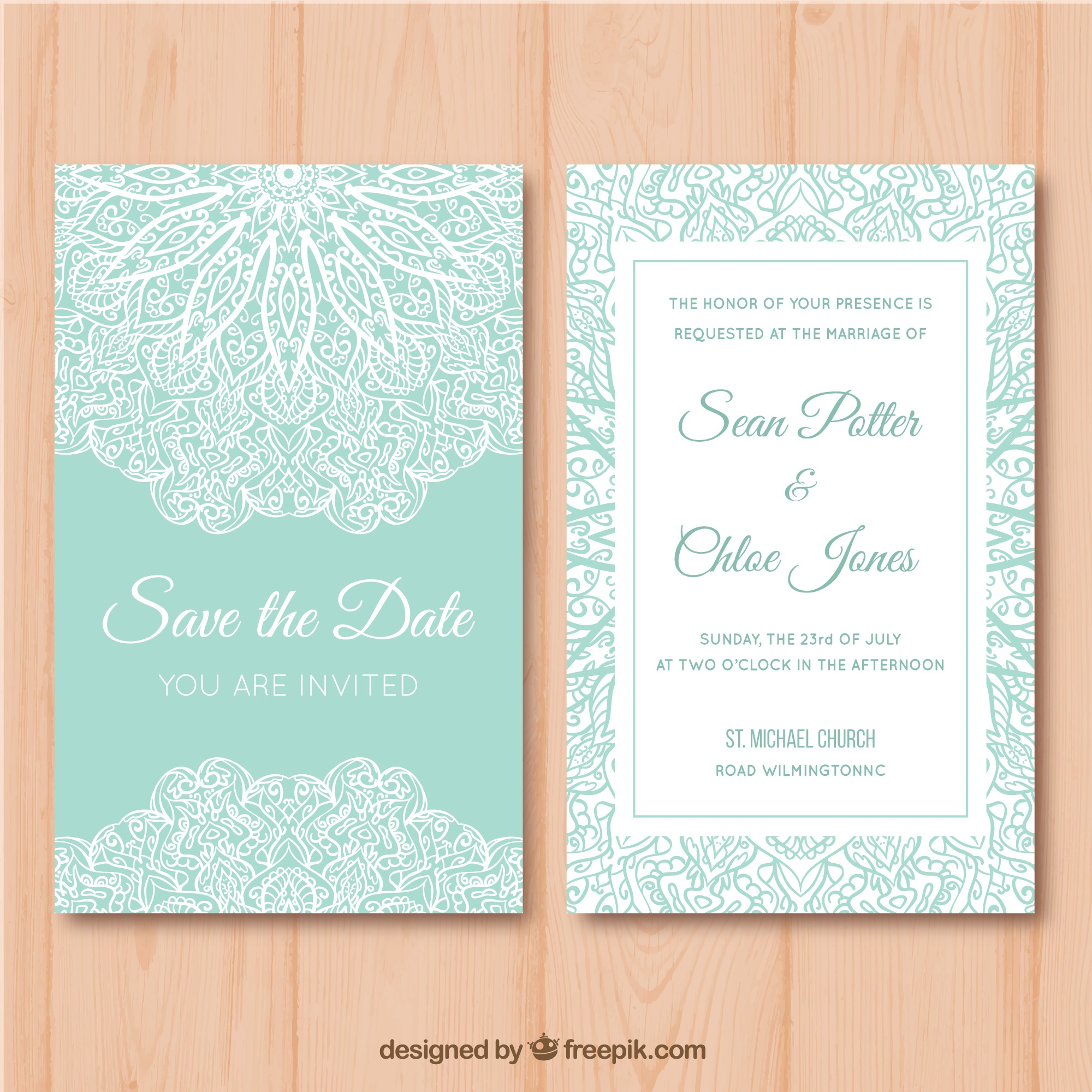 Green and white wedding card with mandala desig