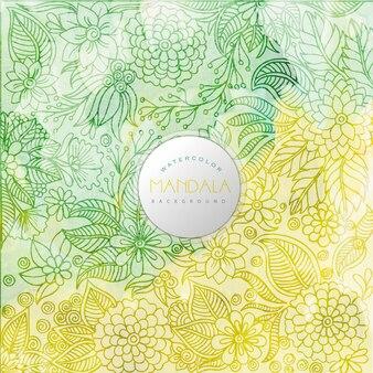 Green and yellow mandala pattern background