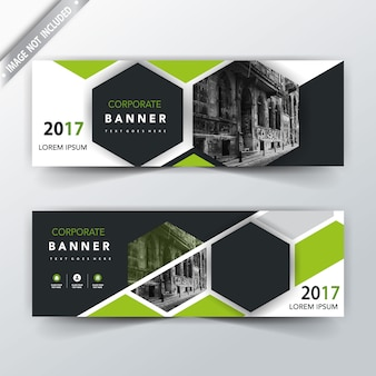 Green back and front banner templates