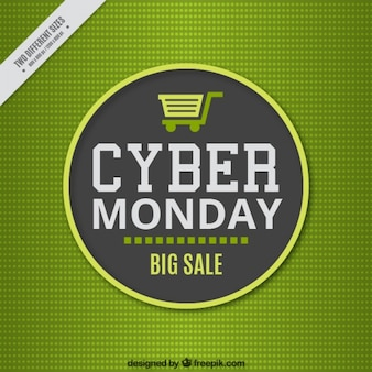 Green background for cyber monday in flat style