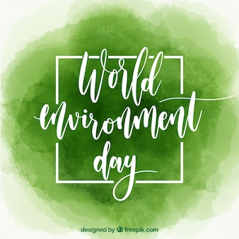 Green background for world environment day in watercolor style