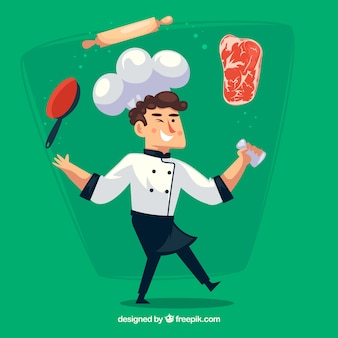 Green background of chef character with objects and ingredients