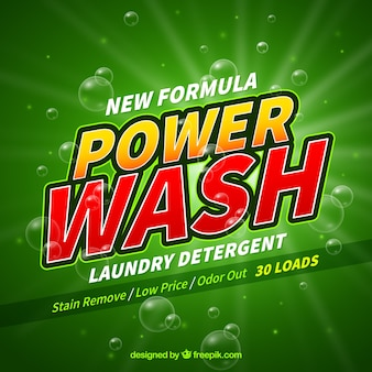 Green background of detergent with new formula