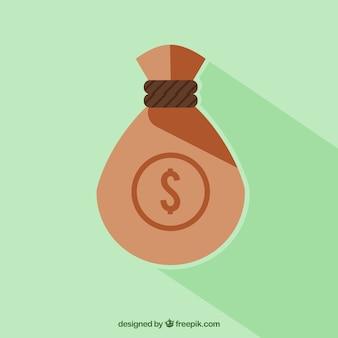Green background of money bag in flat design