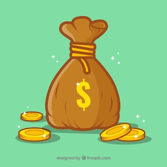 Green background of money bag with coins