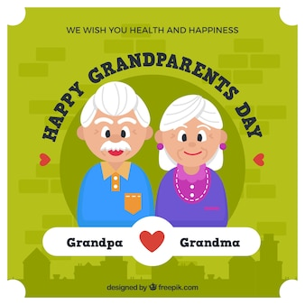 Green background of nice grandparents