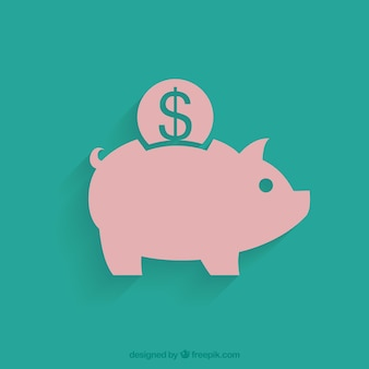 Green background of piggy bank with coin in flat design